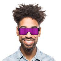 óculos de sol de óculos de natal venda por atacado-Óculos de incandescência 8 modos de flash rápido usb led festa usb charge brilho óculos de sol concerto de natal luz brinquedos decorações de natal eea312