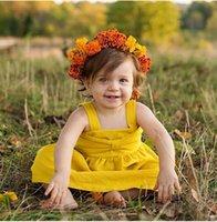 ingrosso abiti gialli per i bambini-Le nuove neonate veste i vestiti senza maniche gialli di cotone della sospensione dei bambini 2018 vestiti svegli del bambino del bambino di estate wt1764