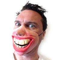 маски фильма ужасные оптовых-Большие зубы Латекс маска для День Маскарад партии Horror Movie Fancy Dress Дурака Creepy Резинка Половина лица Маски Забавный костюм