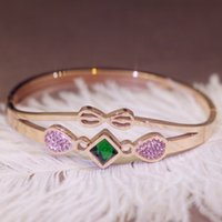 Wholesale bow bracelets ring for sale - Group buy New fashion bow titanium steel inlaid gemstone bracelet boutique temperament titanium steel women s bracelet women s jewelry love bangl
