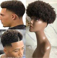 pelucas de encaje superior de seda china al por mayor-Peluca de cabello para hombres Postizos para hombre Afro Curl Full Lace Toupee Marrón Negro Color # 1b Reemplazo de cabello humano virgen europeo para hombres negros