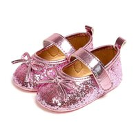schuhschnalle bowknot groihandel-Neugeborenes Baby-Schuhe PU-Leder Schnalle Princess Erste Wanderer mit bowknot Pailletteentwurf weichbesohlte Anti-Rutsch-Krippe-Schuhe