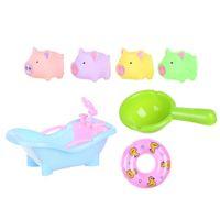 tierschwimmen ringe großhandel-7 STÜCKE Bad Spielzeug Set Mit Badewanne Tier Spielzeug Schwimmen Ring Wasser Schöpfkelle für Kinder