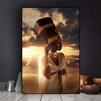 группа обнаженная женщина оптовых-1 Панель Черно-Золотая Обнаженная Африканская Искусство Женщина Закат Картина Маслом на Холсте Cuadros Плакаты и Принты Без Рамки