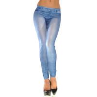 enge knöpfe jeans großhandel-Frauen-Dame-dünne Normallack-Denim-Stretch-reizvolle Hosen-weiche Strumpfhosen gerade Knopfjeans # 1211