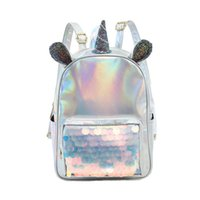 Wholesale girl horse backpacks for sale - Group buy Unicorn Sequins Backpacks Women Laser Leather Mini Travel Bags Girls Cartoon Horse Ear Outdoor SchoolBags Storage Bags OOA6350