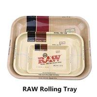 neue tabak kräuterschleifer großhandel-New RAW Rolling Tray Tabak Kräuter Metall Roller Platte Kleine 18x12,5 cm Mittlere Größe 28,8x18,8 cm Tobacco Grinder Smoking Zubehör