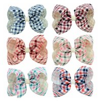 cinta de cuadros a cuadros al por mayor-Boutique 4 Inch Baby Hair Bow Plaid Headband Hair Clip Gingham Grosgrain Ribbon Bow Clips Barrette Kid Hair Accessories