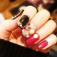ingrosso disegni perla nera-Punte per unghie finte Set 24Pcs con design Black Red 3D Diamante Decorazione di gioielli in perle Finito unghie finte con Nail Art per unghie