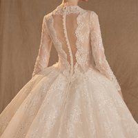 Wholesale online sexy back wedding dresses resale online - 2019 New Style V Neck Ball Gown Wedding Dresses Lace Appliques Sequins Long Sleeve Wedding Dresses Online Sheer Back Lace Wedding Gown