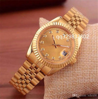 lederoptik großhandel-Look zeichen Top Berühmte Marke Frauen Gold Uhren MenTop Designer Casual Leder Diamant Zifferblatt Automatische Tag Datum Kalender Metall Stahl Uhr