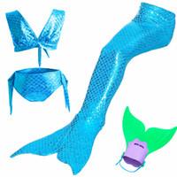 küçük kızlar yüzme takımları toptan satış-4 Adet / 24 Renk Küçük Denizkızı Kuyrukları Kız Cosplay Kostüm ile Yüzmek için Fin cos ariel Mermaid Kızlar banyo Mayo suit