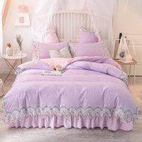 Wholesale korean princess bedding sets resale online - Princess Korean Washed Cotton Lace Edge Duvet Cover set with Bed skirt m m m m bed ps Pink Red Soft Home Bedding
