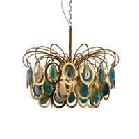 e14 deckenleuchten großhandel-Moderne Kronleuchter Luxus Achat Pendelleuchte E14 Kreative Blau Restaurant Decke Hängende Beleuchtung Dekoration Leuchte