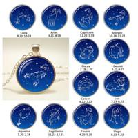Wholesale gemini sign resale online - Fashion Zodiac Sign Twelve Constellation Glass Cabochon Pendant Necklace Aquarius Pisces Aries Taurus Gemini Pendant
