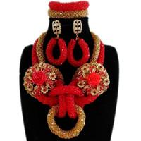 dubai altın seti toptan satış-Dudo Dubai Takı Kadınlar Için Set Kolye Set Takı Kristal Hayvan mücevher Seti Altın Ve Kırmızı Nijeryalı Afrika Düğün boncuk
