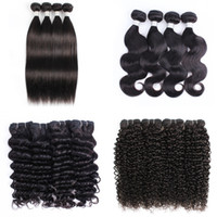 Wholesale afro curly weave human hair resale online - 4 Bundle Deals Brazilian Virgin Hair Body Wave Human Hair Weave Bundles Natural Brown Afro Kinky Curly Silky Straight Loose wave Deep Curly