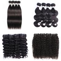 cabelo afro kinky tece venda por atacado-4 Bundle ofertas Virgem Cabelo brasileiro onda do corpo Cabelo Humano Weave Pacotes Natural Brown Afro Kinky Curly Wave Liso solto profunda Curly
