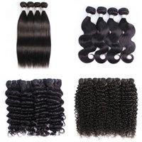 brezilya kinky kıvırcık saç örgüleri toptan satış-4 Paketi Brezilyalı Virgin Saç Vücut Dalga İnsan Saç Dokuma Paketler Doğal Brown Afro Kinky Kıvırcık İpeksi Düz Gevşek dalga Derin Curly Fiyatları