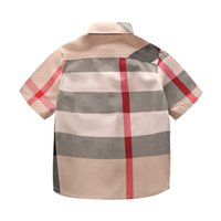 jungen beiläufige hemden tragen großhandel-Designer Kind Hemden 2019 Sommer Luxus T Shirt Britischen Stil Plaid Tops Casual Gentleman Boy Tragen Kinderkleidung Dünne Jacken