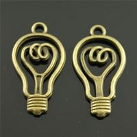 kolye lambası yapmak toptan satış-100 adet Vintage Ampul Kolye Charms Takı Yapımı Için 2 Renkler Ampul Charms Charm Ampul 32x17mm