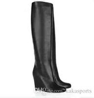 rodilla roja botas altas al por mayor-Botas rojas de cuero negras Zapatos de mujer Zepita 85mm Botas hasta la rodilla hasta la rodilla negras Cuñas de cuero genuino 34-42