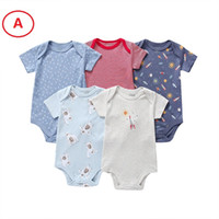 Wholesale packing cotton online - Boutique Newborn Baby boy Girl clothes Romper Onesies Short sleeve PACK Cotton M Summer