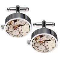 botones steampunk al por mayor-Alta calidad Cool Silver Watch Movimiento para hombre Gemelos Mecanismo Trabajo Steampunk Vintage Puño Botones Gemelos Enlace regalo de boda