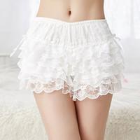 beyaz seksi bikini tabanları toptan satış-Kadınlar seksi beyaz siyah Şort Elastik Bel Dantel Güvenlik Kısa Pantolon Lolita Yay Güvenlik Dibe Temel Külot Scanties İç