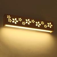 minimalistisches schlafzimmer nachttischlampen großhandel-Kreative LED Badezimmerspiegelleuchte Nordic Minimalist Schlafzimmer Nachttischlampe Massivholz Gang Treppe Wandleuchte Licht