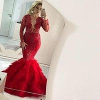 vestido de sereia vermelha trombeta venda por atacado-Plus Size Red sereia Vestidos ilusão completa mangas Sparkly Lace Sequins Tiered Ruffles saia Trumpet Dubai Prom Dress