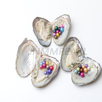 Wholesale 5pcs earring resale online - JNMM Freshwater Oyster with TEN Grains Round Pearl mm Mixed Colors Gift DIY Vacuum Packaging Fancy Gift total pearls