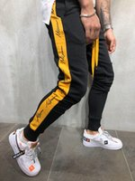 Wholesale pink tracksuit men resale online – Men Slim Fit Trousers Tracksuit Bottoms Skinny Joggers Sweat Track Pants Black Men Casual Trousers Male Clothing