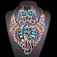 conjunto de joyas de pavo real indio al por mayor-Joyería nupcial grande de la joyería cristalina nupcial conjuntos de collar aretes india fiesta de la boda de accesorios de vestuario para la joyería de las mujeres de la novia del pavo real