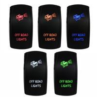 16mm 12v druckknopf großhandel-Marine Boot Auto OFF ROAD LIGHTS LED-Schalter rot / blau / grün / orange / weiß 5 Pin Kunststoffplatte Kupfer DC12 / 24V 10A / 20A