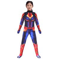traje azul completo de las mujeres al por mayor-Los vengadores Capitán Marvel Carol Danvers Sra. Marvel Disfraces Traje de chándal cosplay 3D Impreso delgado mamelucos mono ropa AAA1945