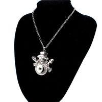 kinderknopf großhandel-Weihnachten Snap Halskette Silber austauschbaren Schmuck passt 18 MM Noosa Ingwer Snaps Chunk Charm Button Frauen Mädchen Kinder Weihnachtsgeschenk