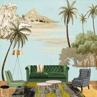benutzerdefinierte vinyl-kunst großhandel-3d handgemalte europäische ölgemälde kunsttapete wohnzimmer tv hintergrund wand benutzerdefinierte mural palme