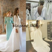 Wholesale brides dresses resale online - Backless Bohemian Wedding Dresses with Long Sleeve Vintage Stain Jewel Neck Western Country Wedding Bride Gown vestido de n