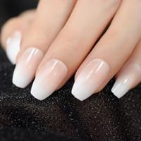 bouts des ongles blanc achat en gros de-Rose nude Blanc Cercueil de ballerine française Faux ongles Gradient naturel Manucure Appuyez sur Faux Ongles Conseils Usage quotidien des doigts au bureau