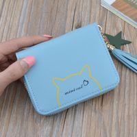 nuevos bolsos coreanos al por mayor-2019 nueva billetera pequeña para mujer, borla corta, nueva billetera de estudiante coreana, mini monedero compacto para gato
