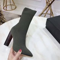 ingrosso calzini di pelle di pecora-Hot 9.5CM Tacco alto Seasons Green Knit Sock Boost Sheepskin Lady Stretch Sexy T show Stivali Donna