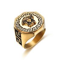 ringfinger leimung großhandel-Größe 7-15 Hip Hop Fingerring Schmuck Vergoldet Farbe Mann Frau Medusa Schmuck Ring für Party Geschenk