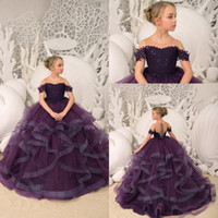 Wholesale ruffles girl t shirt for sale - Group buy 2019 New Dark Purple Flower Girl Dresses Sheer Neck Short Sleeve Tulle A Line Layered Ruffles Skirt Lace Applique Top Girl Pageant Dresses