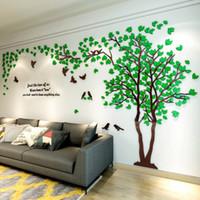 tv arka planı ev toptan satış-3D Ağacı Akrilik Ayna Duvar Sticker Çıkartmaları DIY Sanat TV Arka Plan Duvar Posteri Ev Dekorasyon Yatak Odası Oturma Odası Wallstickers