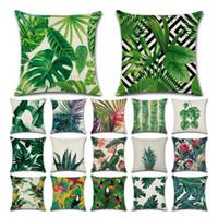 ingrosso foglia decorativa-Piante tropicali Cactus Monstera Cuscini decorativi estivi in cotone Cuscino in lino cotone Foglia verde Decorazioni per la casa Federa