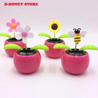 ba8d1801640d2b New Solar Powered Flip Flap Dancing Flower For Car Decor Automatic Dancing Flower  Toy Gift for children