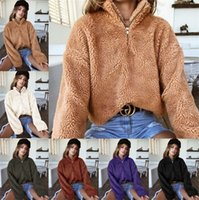 lã berberland feminino venda por atacado-Mulheres Inverno Sherpa Pullovers Camisola Outono Manga Comprida de Lã Com Capuz Com Zíper Gola Camisola Gargantilha Berber Tops de Pele 2019 C91108