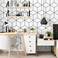 Wholesale wallpapers patterns for sale - Group buy Fashion minimalism geometric pattern wallpaper bedroom student dormitory computer desk background wall decoration modern strip wallpaper