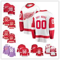 kronwall jersey venda por atacado-Os fanáticos feitos sob encomenda do jérsei das asas vermelhas de Detroit marcaram as camisas do hóquei em gelo de Tyler Bertuzzi Gordie Howe Niklas Kronwall